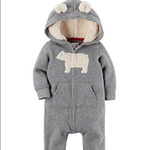 Carters Grey Fleece Hooded Coverall Size 9m